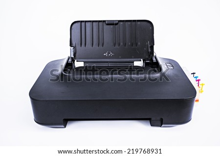 Old printer with ink tank on a white background  - stock photo