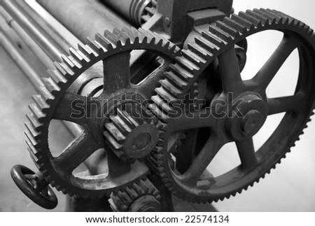 Old printing press - stock photo