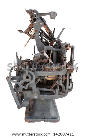 Old printing press. Clipping path included  - stock photo