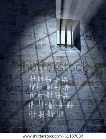Old prison cell with window, bars and calendar in sunbeam - stock photo