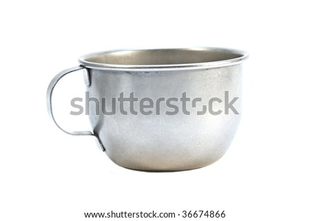 Old prisoners aluminum cup isolated