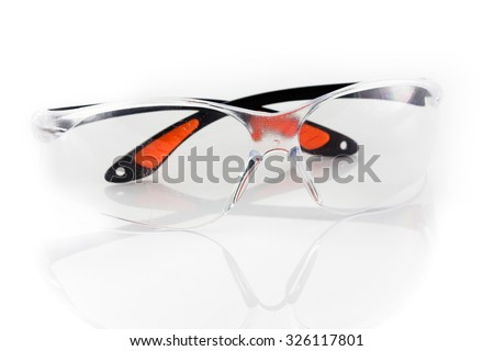 Old Protective Eyewear / Safety Glasses Isolated on White Background - stock photo