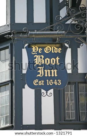 Old Pub Sign in Chester England - stock photo