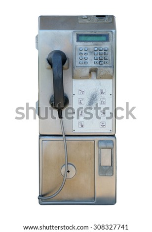 old public telephone coin (Payphone) isolated on white