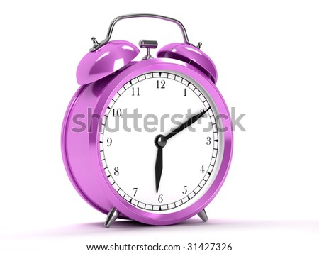 Old purple clocks on white background - stock photo