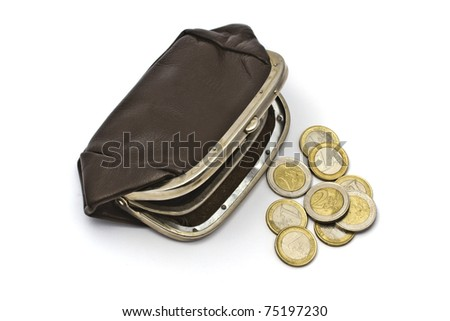 Old purse and euro coins closeup on white background - stock photo