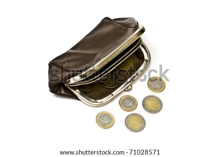 Old purse and euro coins isolated on white background - stock photo