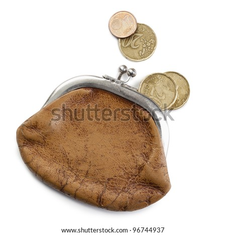 Old purse and Euro's coins.