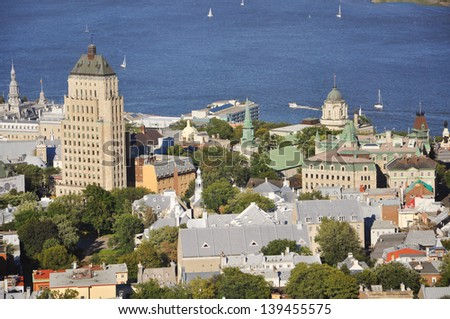Old Quebec City Aerial view, from Observatoire de la Capitale, Quebec, Canada - stock photo