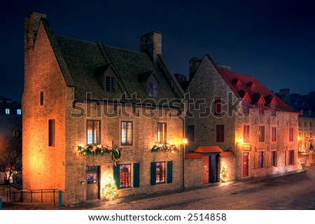Old Quebec City decorated for Christmas - stock photo