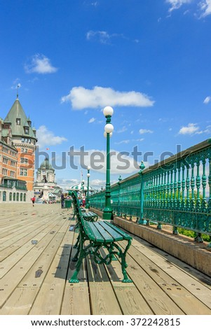 Old Quebec city with Frontenac castle - stock photo