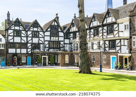 Old Queen's House (now home of Towers of London Governor). Tower of London (Her Majesty's Royal Palace and Fortress) - historic castle in central London and popular tourist attraction. - stock photo