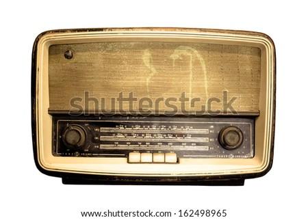 Old radio, Antique brown radio on a white background - stock photo
