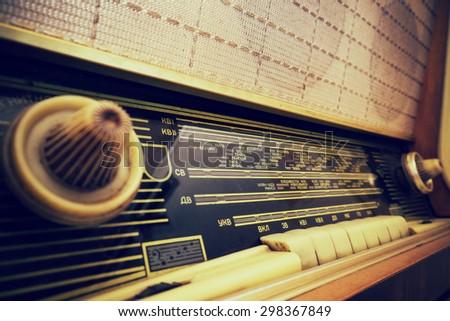 Old radio closeup - stock photo