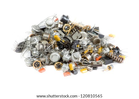 Old radio components on white background - stock photo