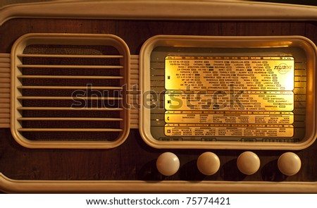 old radio from the fifties turned on