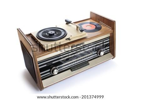 Old  radio-gramophone Isolated on white background - stock photo