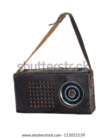 Old radio in a leather case - stock photo