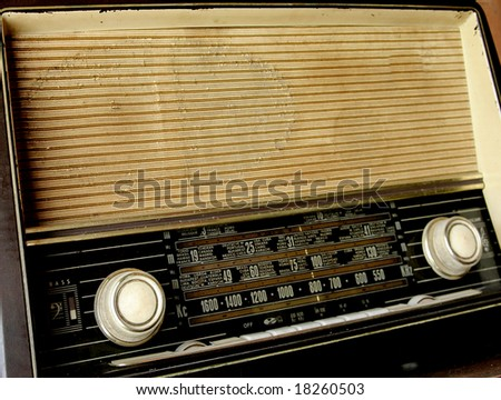 old radio in on a table - stock photo