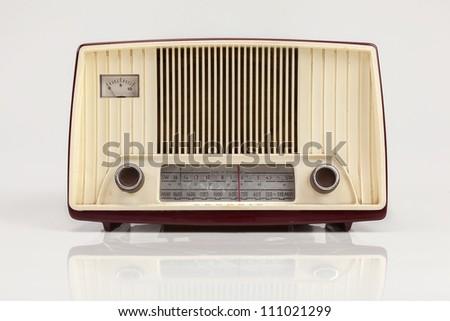 old radio in white background - stock photo