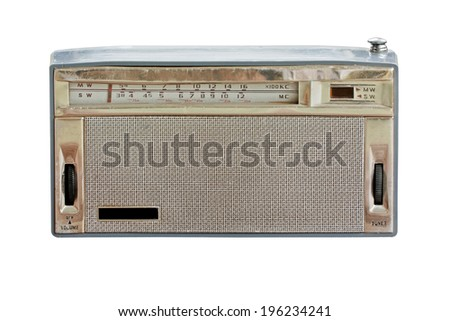Old radio isolate on white background