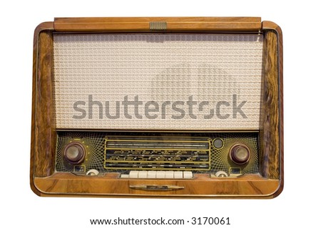 old radio isolated in white - stock photo