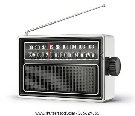 old radio isolated on a white background - stock photo