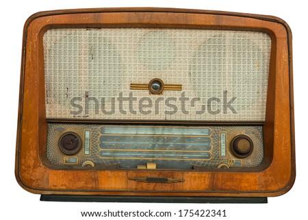 Old radio, isolated on white background - stock photo