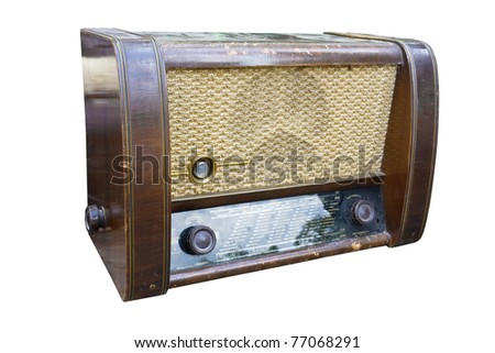 Old radio isolated on white background. - stock photo
