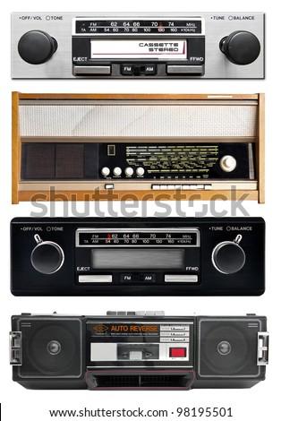 Old radio isolated on white, set - stock photo