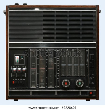 Old radio isolated over white - stock photo