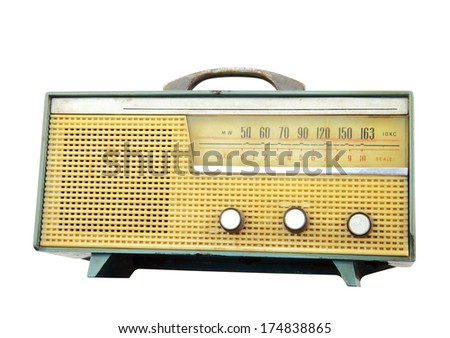 Old radio isolated over white background, clipping path - stock photo
