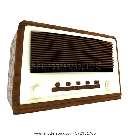 Old radio isolated over white, 3d render - stock photo