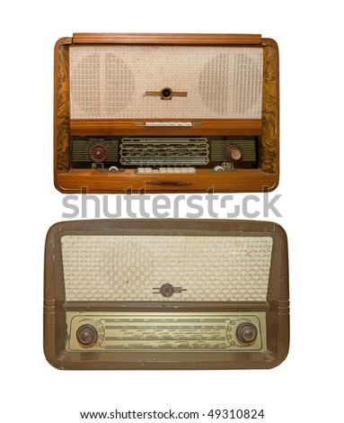 old radio on a white background - stock photo