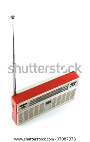 Old radio on a white background. The top-side view - stock photo
