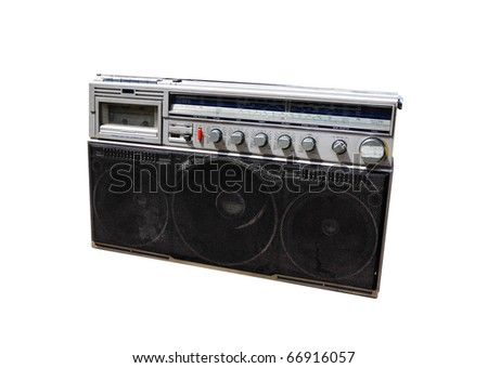 old radio on white background