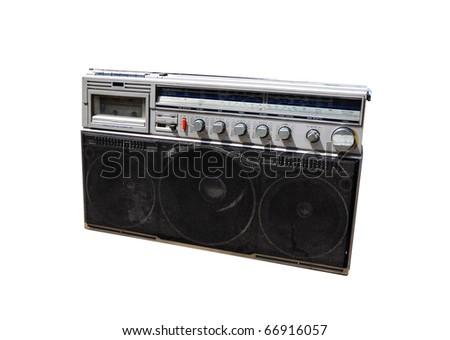 old radio on white background - stock photo