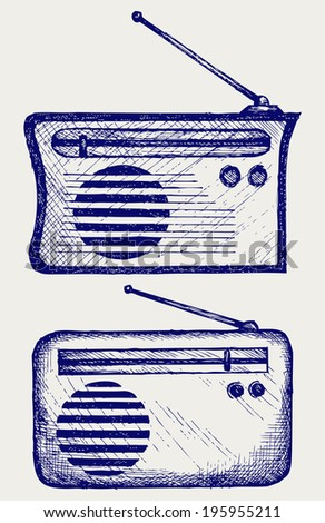 Old radio receiver. Doodle style. Raster version - stock photo