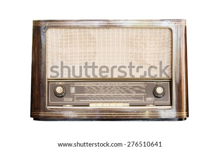 Old radio receiver of the last century isolate on over white background