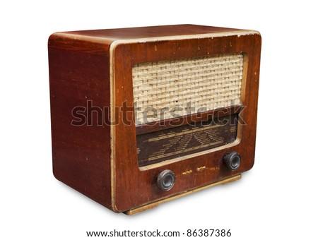 Old radio tuner  isolated on white background - stock photo