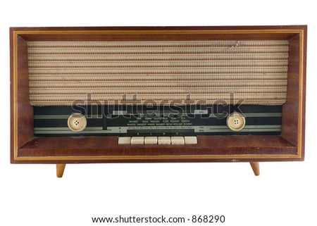 Old radio tuner isolated on white background with clipping path - stock photo