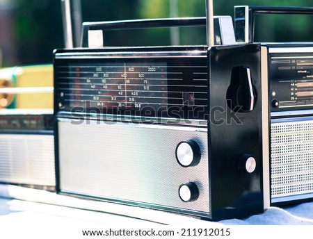 Old radios. Selective focus. - stock photo