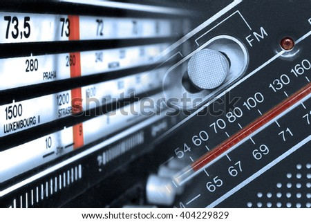 Old radios tuners frequencies  with buttons montage in monochrome - stock photo