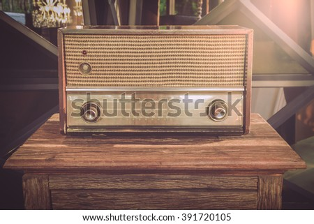 Old radios used as illustrations for a retro decor.