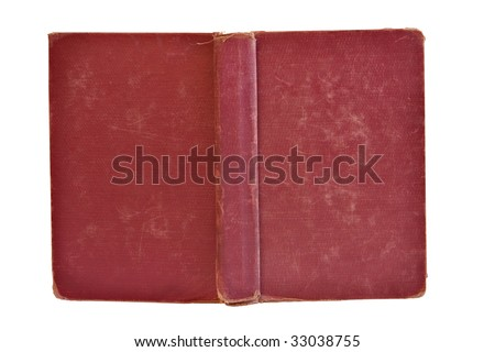old ragged book cover isolated on white