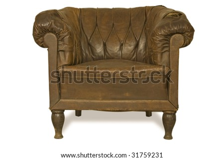 old ragged leather armchair. clipping path inside,isolated on white