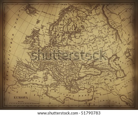 Old Ragged Map Europe On Paper Stock Illustration - Parchment paper map of us