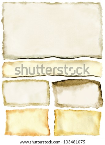 Old ragged yellow papers backgrounds set