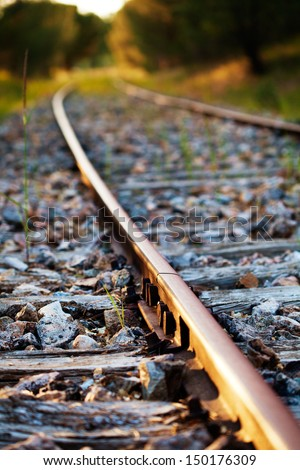 Old Railroad curve with selective focus - stock photo