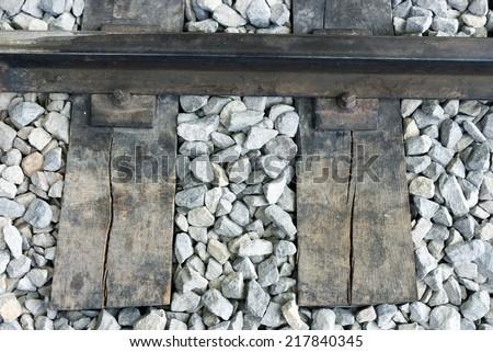 old railroad rail - stock photo